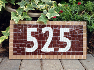 Brown Address Sign, House Number Sign, Green Street Mosaics