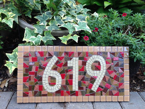 Mosaic House Number Sign in Earth Tones, House Number Sign, Green Street Mosaics