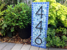 Blue Mosaic House Number Sign, House Number Sign, Green Street Mosaics