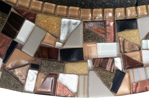 Brown Oval Mosaic Mirror, OVAL Mosaic Mirror, Green Street Mosaics
