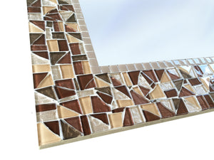Brown Wall Mirror - Square, Square Mosaic Mirror, Green Street Mosaics