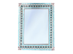 Coastal Mosaic Mirror Light Aqua, Rectangular Mosaic Mirror, Green Street Mosaics