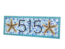 Address Plaque For Beach House - Mosaic Sign with Starfish, House Number Sign, Green Street Mosaics