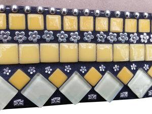 Yellow and Black Mosaic Wall Mirror, Square Mosaic Mirror, Green Street Mosaics