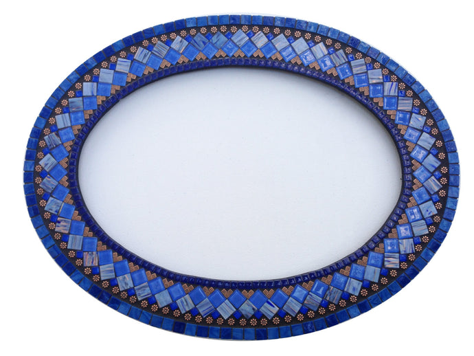 Oval Mosaic Mirror in Blue, Copper, Black, OVAL Mosaic Mirror, Green Street Mosaics