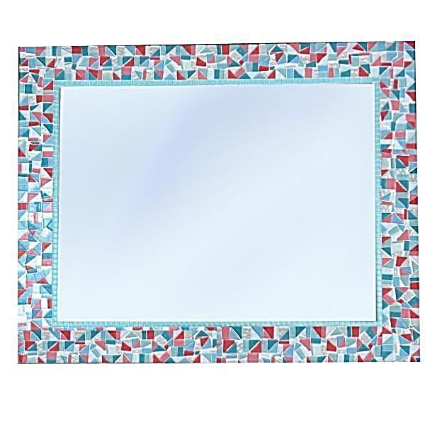 Pink and Aqua Mirror for Nursery, Rectangular Mosaic Mirror, Green Street Mosaics