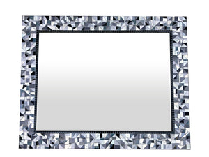 Black White Gray Mosaic Wall Mirror, Rectangular Mosaic Mirror, Green Street Mosaics