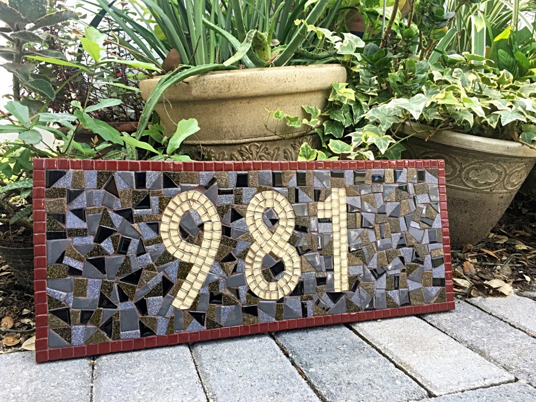 House Number Sign - Earth Tones, House Number Sign, Green Street Mosaics