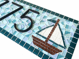 Mosaic Address Sign With Sailboat, House Number Sign, Green Street Mosaics