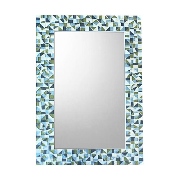 wall mirror, handcrafted in blue green gray white mosaic tiles