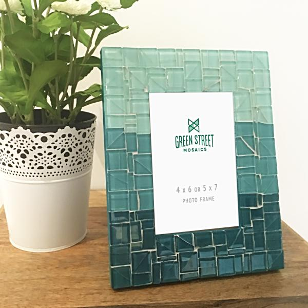Turquoise Teal Aqua Ombre Picture Frame, Picture Frame, Green Street Mosaics