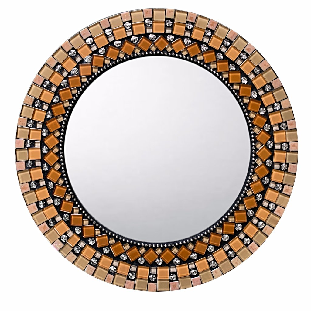 Orange and Black Mirror for Wall, Round Mosaic Mirror, Green Street Mosaics