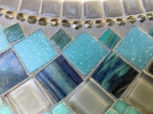 Aqua and Gray Wall Mirror, OVAL Mosaic Mirror, Green Street Mosaics