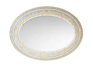 Beige Tan White Mirror, OVAL Mosaic Mirror, Green Street Mosaics