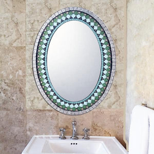 Oval Mosaic Mirror in Green and Copper, OVAL Mosaic Mirror, Green Street Mosaics