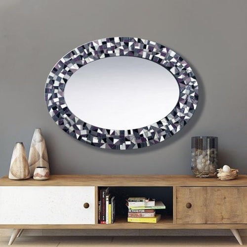 Purple Black Gray White Mosaic Mirror, OVAL Mosaic Mirror, Green Street Mosaics