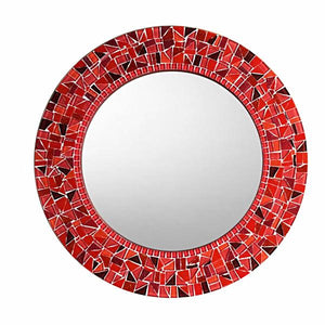 Round Red Mosaic Wall Mirror
