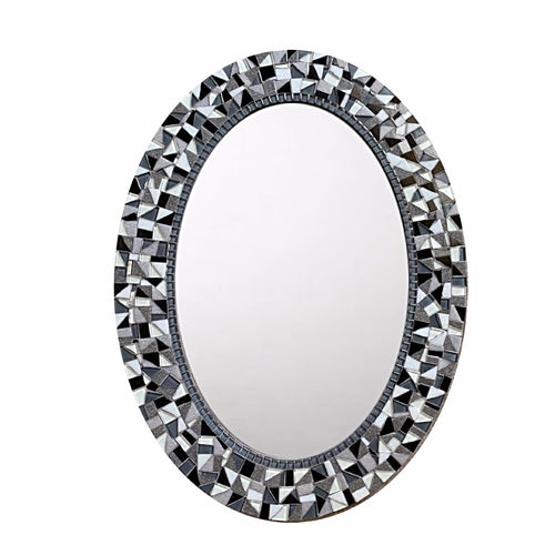 Black and White Wall Mirror, OVAL Mosaic Mirror, Green Street Mosaics