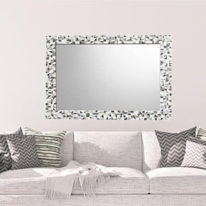 Large living room mirror silver gray white mosaic mirror