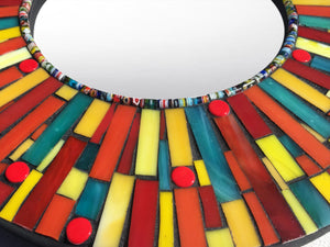 Colorful Stained Glass Mirror, Round Mosaic Mirror, Green Street Mosaics