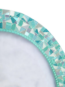 Sea Green and Aqua Oval Wall Mirror, OVAL Mosaic Mirror, Green Street Mosaics