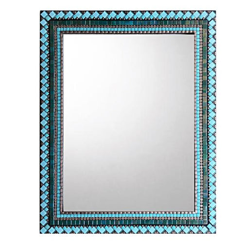 Teal, Aqua, Copper Mosaic Mirror, Rectangular Mosaic Mirror, Green Street Mosaics