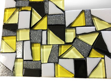 Yellow and Black Wall Mirror, Rectangular Mosaic Mirror, Green Street Mosaics