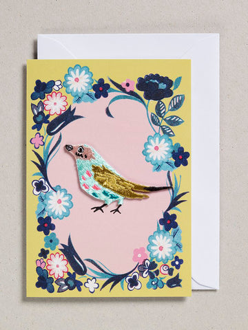 Embroidered Bird Patch Cards