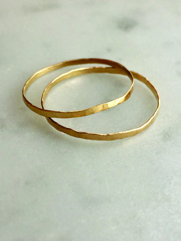 Skinny Hammered Rings - Gold