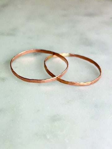 Skinny Hammered Rings - Rose Gold