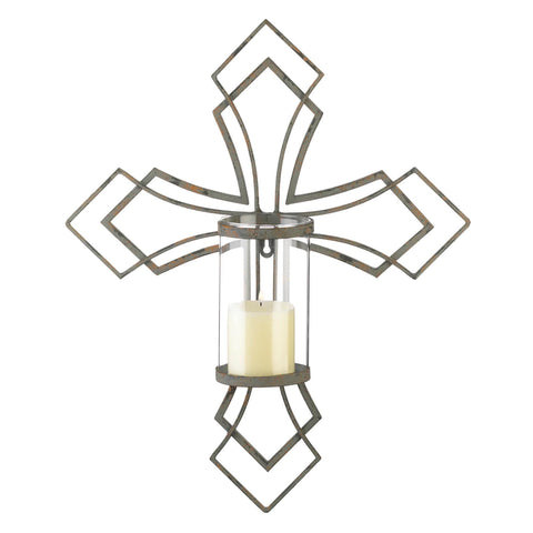 zr- CONTEMPORARY CROSS CANDLE WALL SCONCE **Free Shipping**