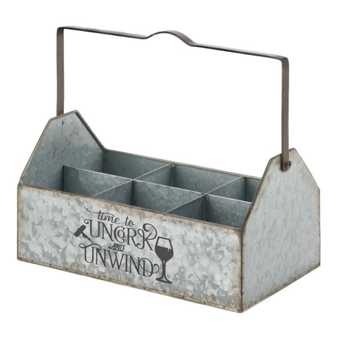zb1- GALVANIZED METAL WINE CADDY **Free Shipping**