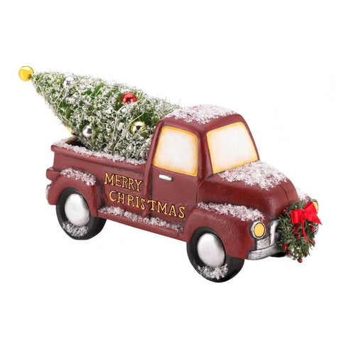 zr2- LIGHT-UP RED TRUCK WITH WREATH **FreeShipping** Special holiday delivery! This old-time truck is carrying a fully decorated Christmas tree for delivery to your mantel or table, and the lights on the tree really light up!