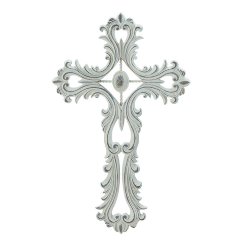 zp- SCALLOPED WHITE CROSS **Free Shipping**