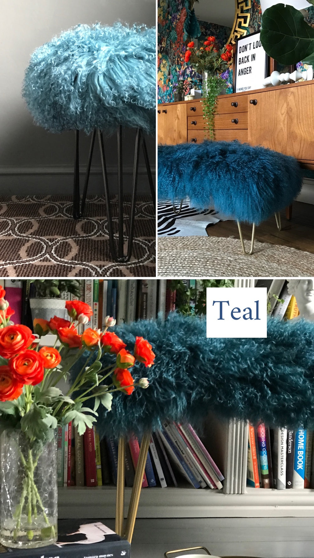 Teal Mongolian Sheepskin