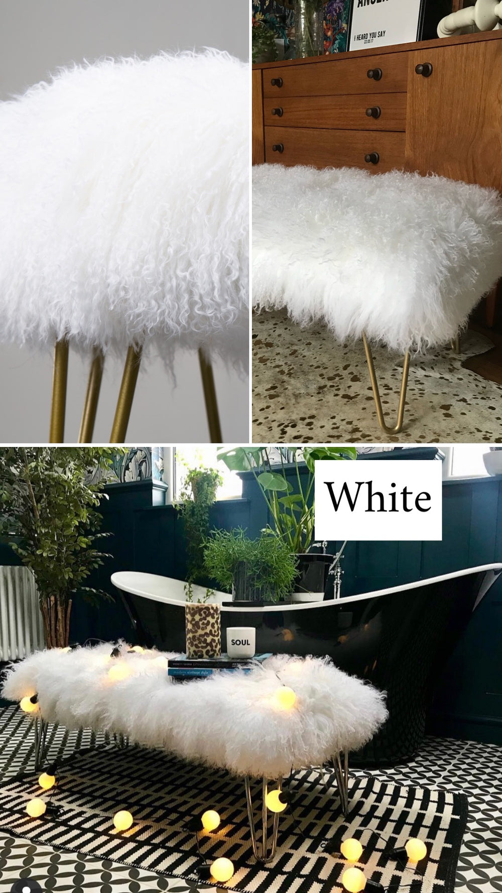 white mongolian sheepskin