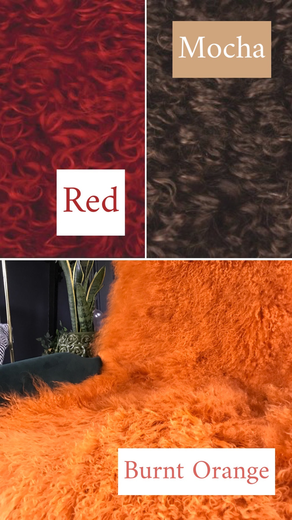 red orange brown mongolian sheepskin