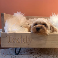 handcrafted personalised oak walnut dog cat beds