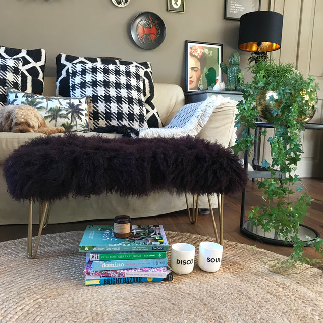 footstool, mongolian sheepskin footstool, sheepskin footstool, hairpin legs footstool, metallic legs