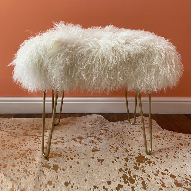Almost square Mongolian console stool