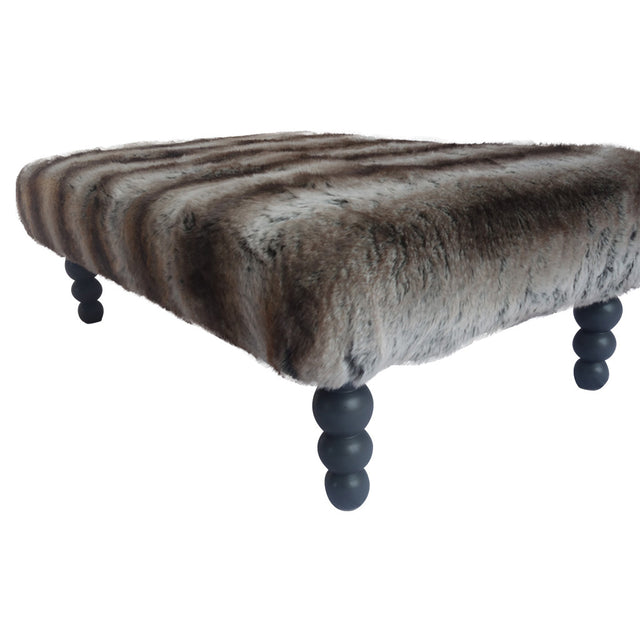 brown faux fur footstool