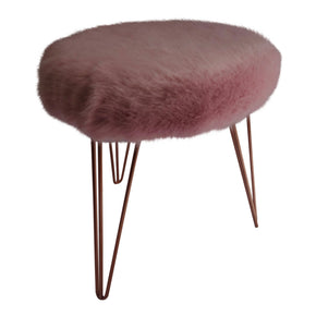Rose Quartz faux fur upholstered stool with hairpin legs