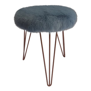 Serenity faux fur stool with copper hairpin legs