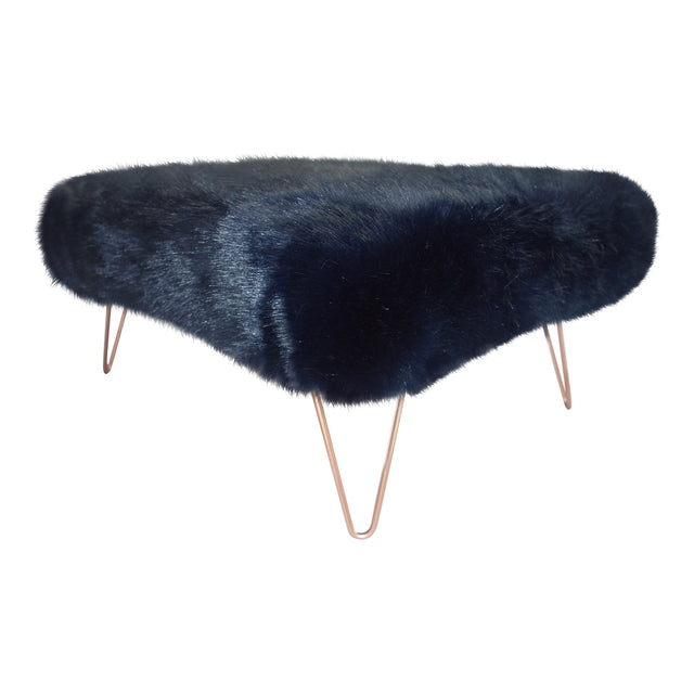 Super Luxe Medium Pile Faux Fur Footstool