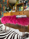Magenta pink mongolian sheepskin upholstered bench with hairpin legs