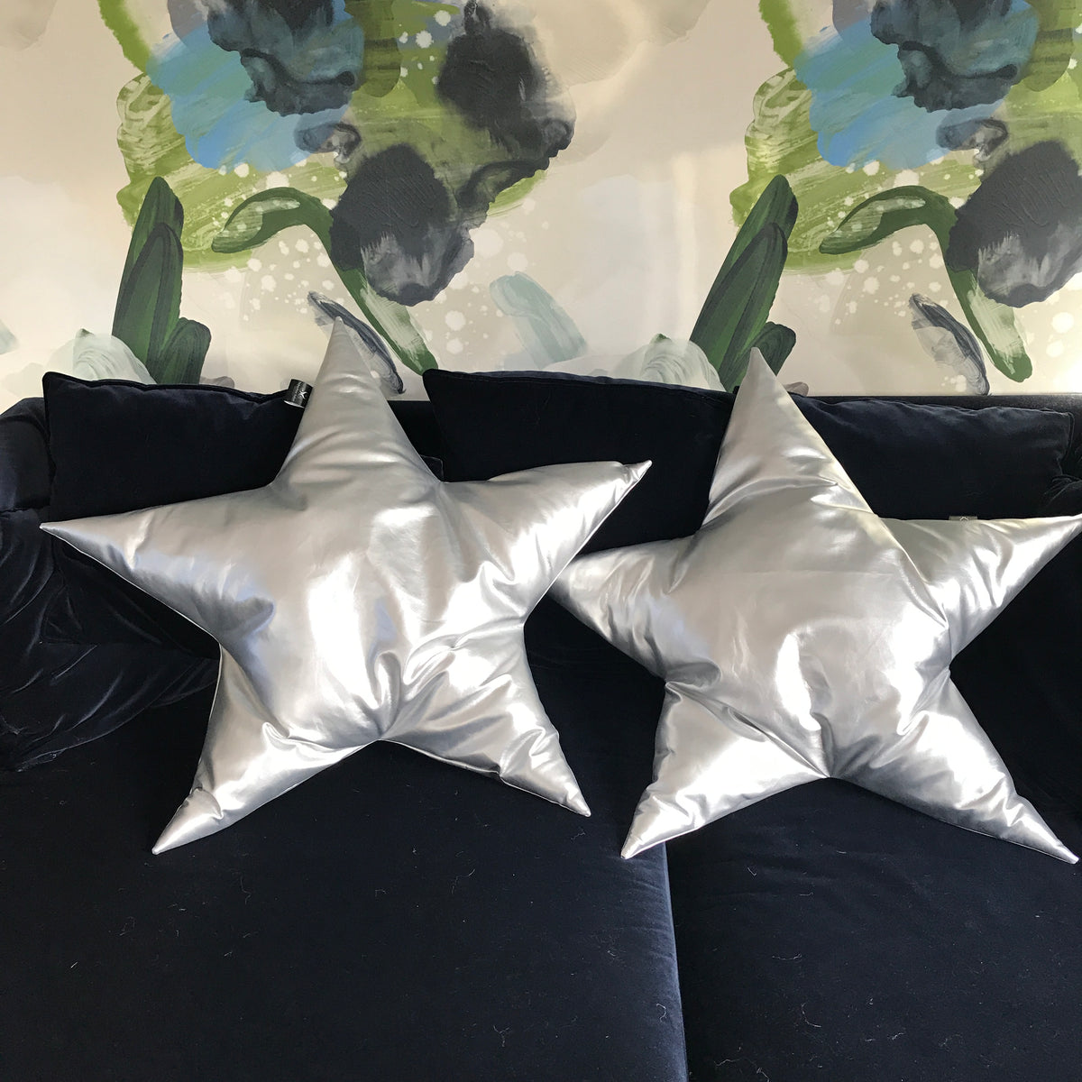 Silver faux leather handmade star cushion