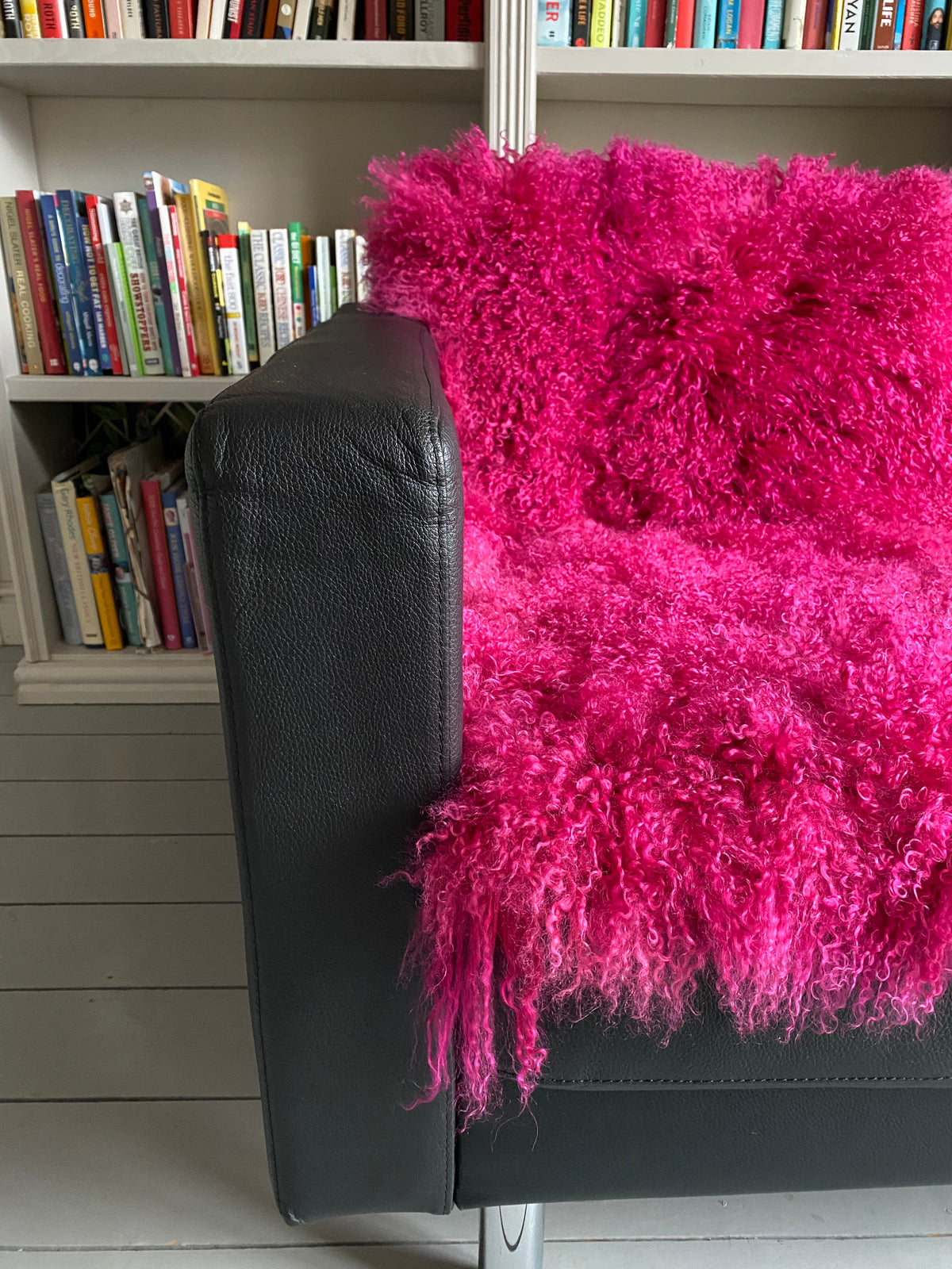 magenta bright pink sheepskin mongolian throw sheet runner