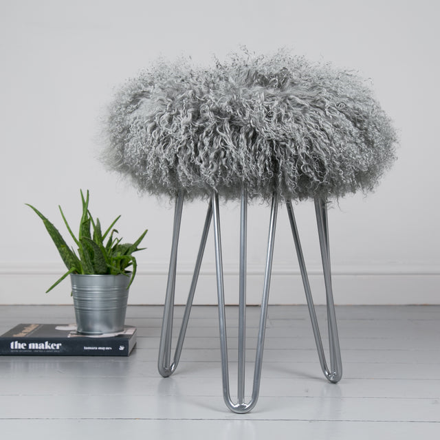 Mongolian Sheepskin Hairpin Leg Stool