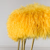 mustard mongolian sheepskin bench with hairpin legs