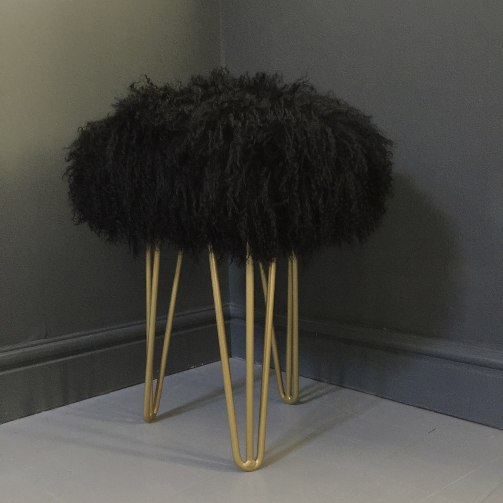Mongolian Sheepskin Stool
